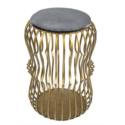 Kamen Elegantly Cultivated Metal & Glass End Table