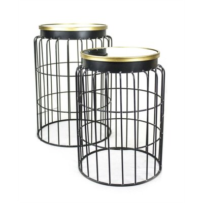 Kaler Versatile Mirrored Top Metal 2 Piece Nesting Tables