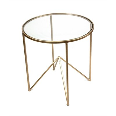 Jusino Beautifully Designed Round Metal and Glass End Table