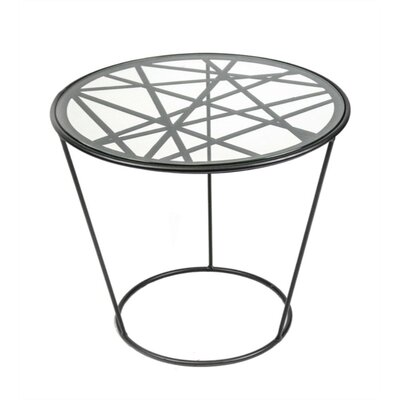 Mckinnon Modish Looking Metal and Glass End Table