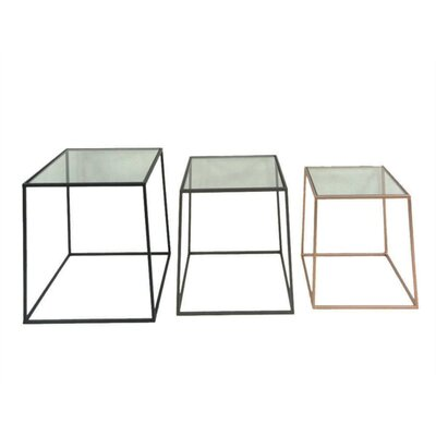 Lagasse Metal and Glass 3 Piece Nesting Tables