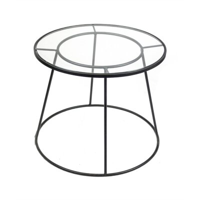 Mcglade Geometrically Designed Round Metal and Glass End Table