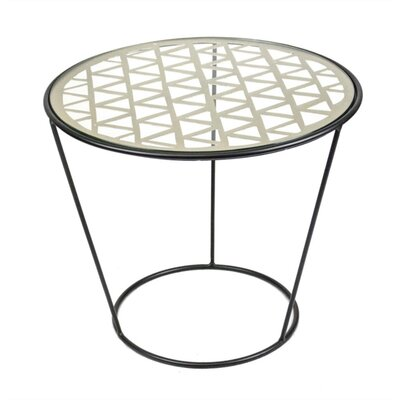 Mckinnis Well-Designed Metal and Glass Round End Table