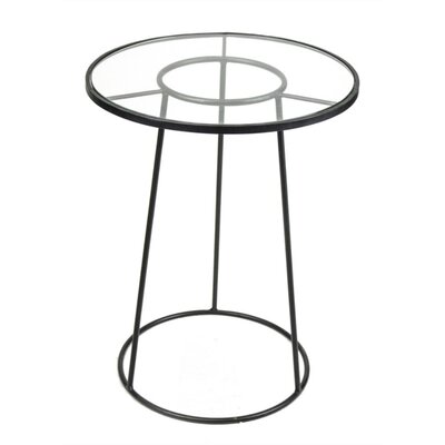 Mcglade Symmetrically Tapered Round Metal and Glass End Table