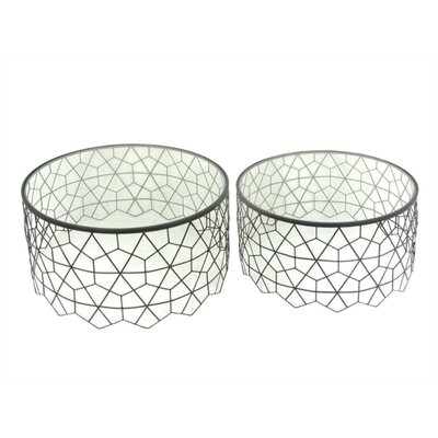 Lagrone Hexagonal Patterned Metal and Glass 2 Piece Nesting Tables