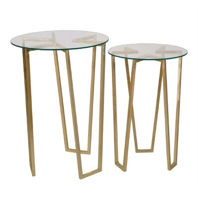 Freeborn Metal 2 Piece Nesting Tables
