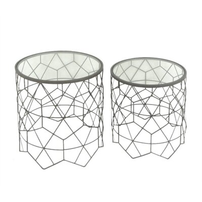Laguerre Enticing Metal and Glass Round 2 Piece Nesting Tables