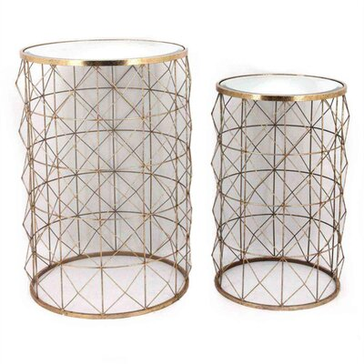 Kalgoorlie Flashy Figured Metal 2 Piece Nesting Tables