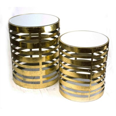 Justin Dazzling Metal Round 2 Piece Nesting Tables