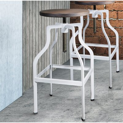 Mcclintock Adjustable Height Swivel Bar Stool Color: White