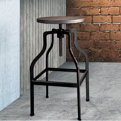 Mcclintock Adjustable Height Swivel Bar Stool Color: Black