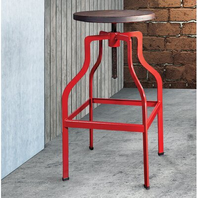Mcclintock Adjustable Height Swivel Bar Stool Color: Red