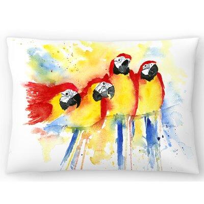 4 Macaws Lumbar Pillow Size: 14 x 20