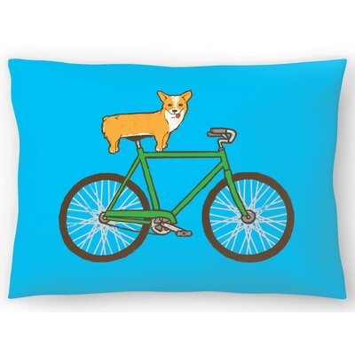 Corgi on a Bike Lumbar Pillow Size: 14 x 20