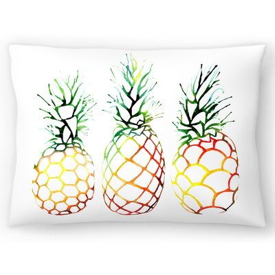 Retro Pineapples Lumbar Pillow Size: 14 x 20