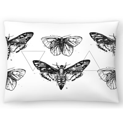 Geometric Moths Repeat Tile Lumbar Pillow Size: 14 x 20