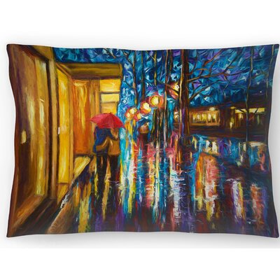 Love in the Rain Lumbar Pillow Size: 10 x 14