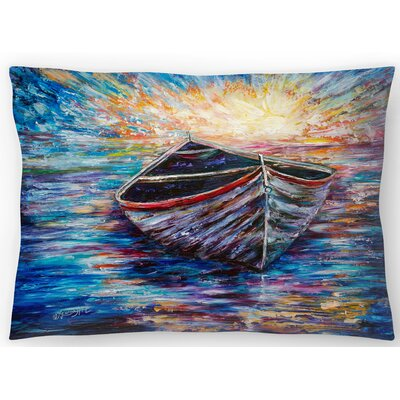 Wooden Boat At Sunrise Lumbar Pillow Size: 14 x 20