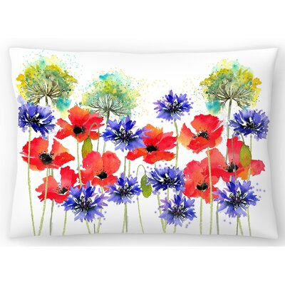 Poppies Parsley And Cornflowers Lumbar Pillow Size: 10 x 14
