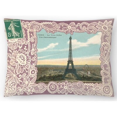 Eiffel Tower Postcard Stamp Lumbar Pillow Size: 14 x 20