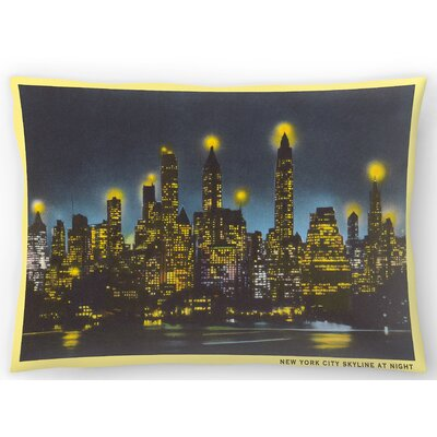 Manhattan Skyline Night Lumbar Pillow Size: 14 x 20