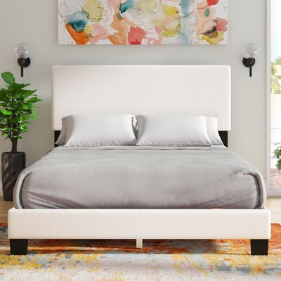 Haskin Padded Upholstered Bed Frame Color: White, Size: Queen