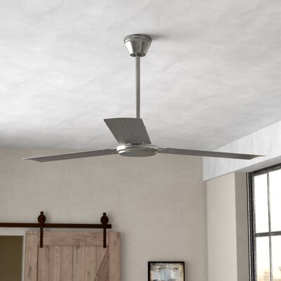 56 Emil 3 Blade Industrial Ceiling Fan Finish: Brushed Nickel, Accessories: Ball Hanger Installation System