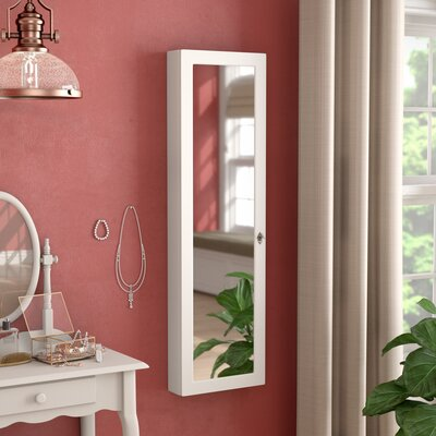 Ridenour Over the Door or Wall Mount Jewelry Armoire with Mirror Color: White