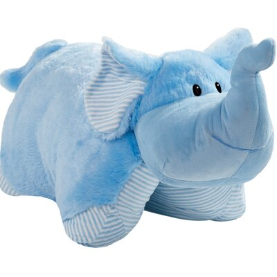 My First Elephant Plush Chenille Throw Pillow Color: Blue