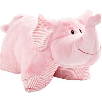 My First Elephant Plush Chenille Throw Pillow Color: Pink