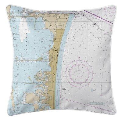 Wegener Beach FL Nautical Chart Throw Pillow