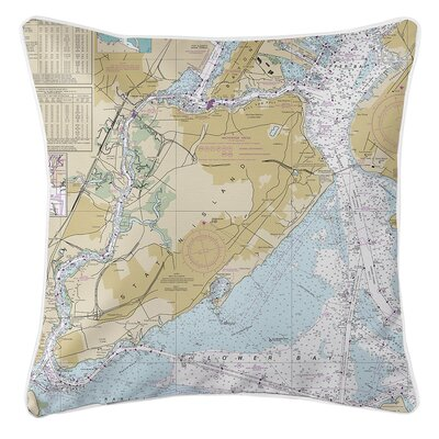 Wehrle Island NY Nautical Chart Throw Pillow