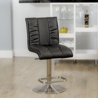Duechle Mix Adjustable Height Swivel Bar Stool Upholstery: Black