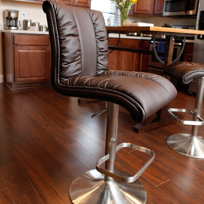 Duechle Mix Adjustable Height Swivel Bar Stool Upholstery: Brown