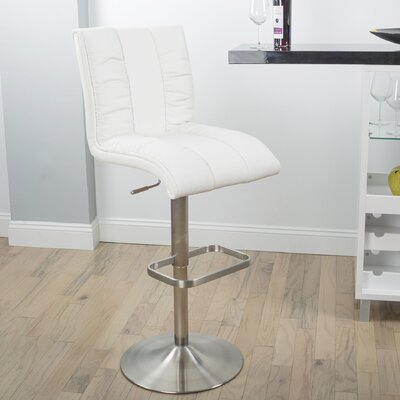 Duechle Mix Adjustable Height Swivel Bar Stool Upholstery: White