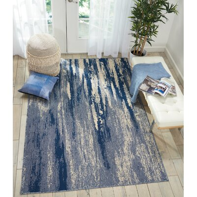 Lido Blue/Cream Indoor/Outdoor Area Rug Rug Size: Rectangle 53 x 75