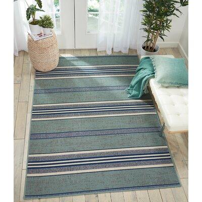 Lido Aqua Blue Indoor/Outdoor Area Rug Rug Size: Rectangle 710 x 106