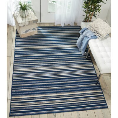 Lido Navy Blue/Cream Indoor/Outdoor Area Rug Rug Size: Rectangle 93 x 129
