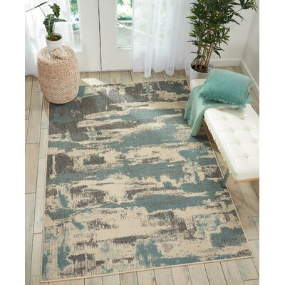 Lido Cream/Aqua Blue Indoor/Outdoor Area Rug Rug Size: Rectangle 93 x 129