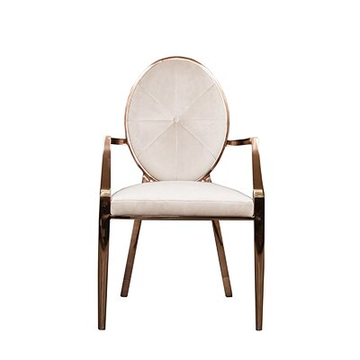 Fraise Upholstered Dining Chair (Set of 2) Upholstery Color: Beige, Leg Color: Gold