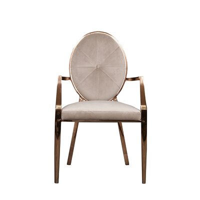 Fraise Upholstered Dining Chair (Set of 2) Upholstery Color: Taupe, Leg Color: Gold