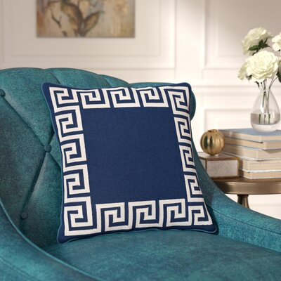 Jans Linen Throw Pillow Size: 18 H x 18 W x 4 D, Color: Navy, Filler: Polyester