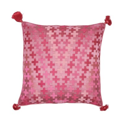 Pepi Embroidered Cotton Throw Pillow Color: Flamingo