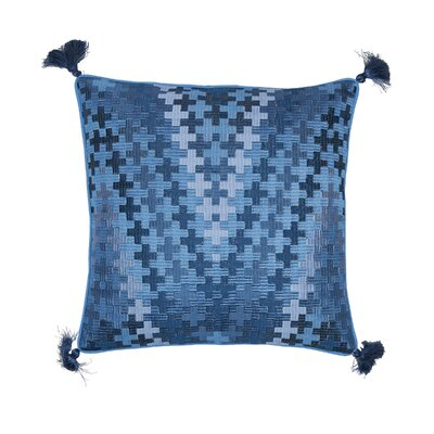 Pepi Embroidered Cotton Throw Pillow Color: Santorini