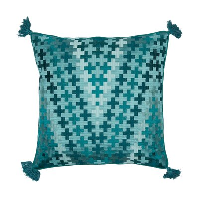 Pepi Embroidered Cotton Throw Pillow Color: Lagoon