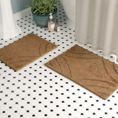 Barnes 2 Piece 100% Cotton Diamond Spray Latex Bath Rug Set Size: 24 H X 17 W and 30 H X 20 W, Color: Natural
