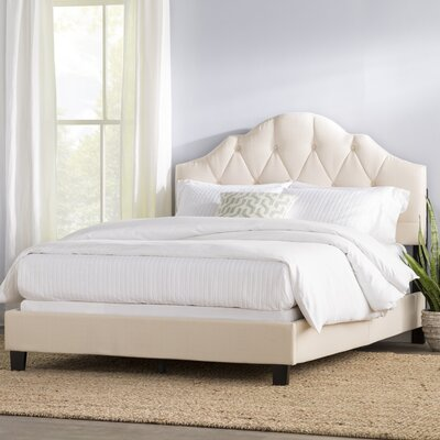 Rizzuto Upholstered Panel Bed Color: Creamy Oatmeal, Size: Queen