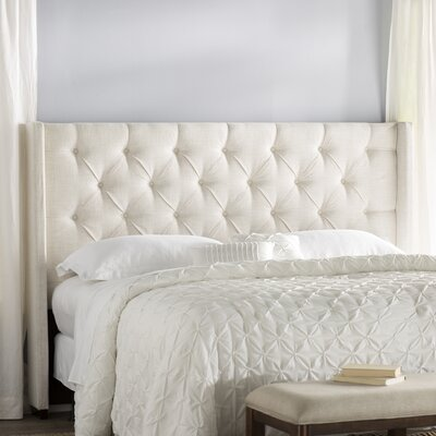 Fares Upholstered Wingback Headboard Size: King, Color: Ivory