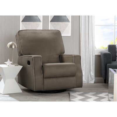 Dutra Manual Glider Recliner Upholstery: Graphite/Dove Gray Welt