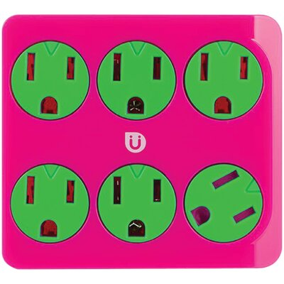 Power Tap 6-Outlet Color: Green/Pink